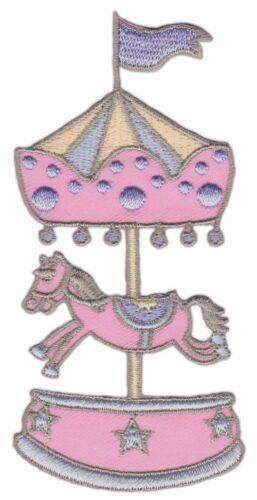 an21 Karussell Rosa Pferd Aufnäher Bügelbild Applikation Kinder 4,7 x 10,2 cm