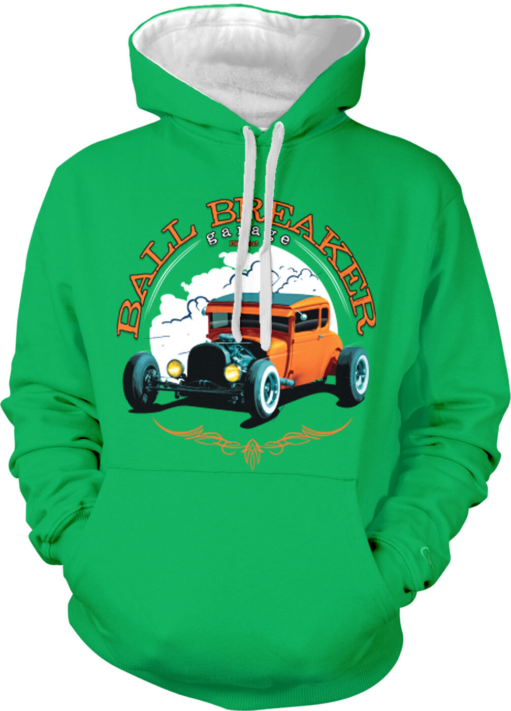 Ball Breaker Garage Hot Rod Classic Car Vintage Old Two Tone Hoodie Sweatshirt