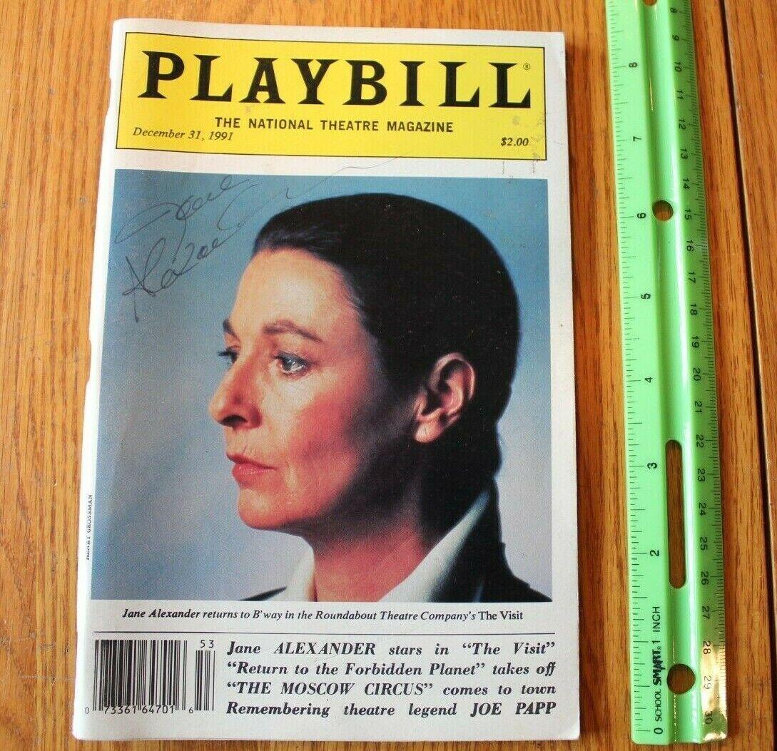 Firmato Playbill Jane Alexeer in il Visitare Dicembre 31, 1991 Bstradaway Annata