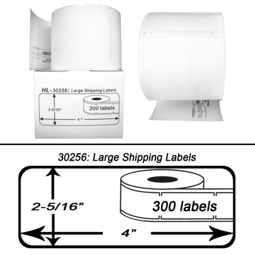 12 Rolls of 300  REMOVABLE  Large Shipping Labels DYMO® LabelWriters® LW 30256-R