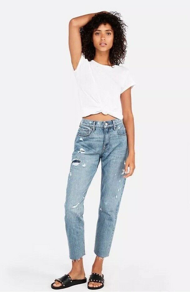 New with Tags Express High Waisted Destructed Boyfriend Jeans