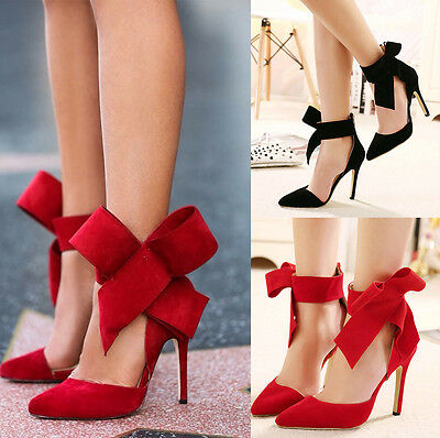 Sexy gitl Big bow pointed Toe strap high thin heels Bridal Party Evening Shoes