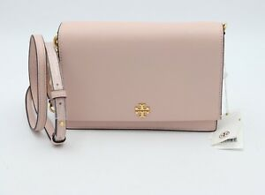NWT-Tory-Burch-Georgia-Pink-Pebbled-Leather-Combo-Crossbody-Bag-Clutch-New-398