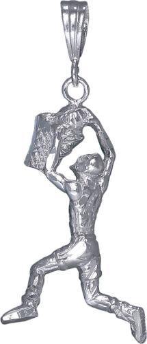 Sterling Silver Joueur de Basket-ball Charme Collier Pendentif Diamond Cut Finition