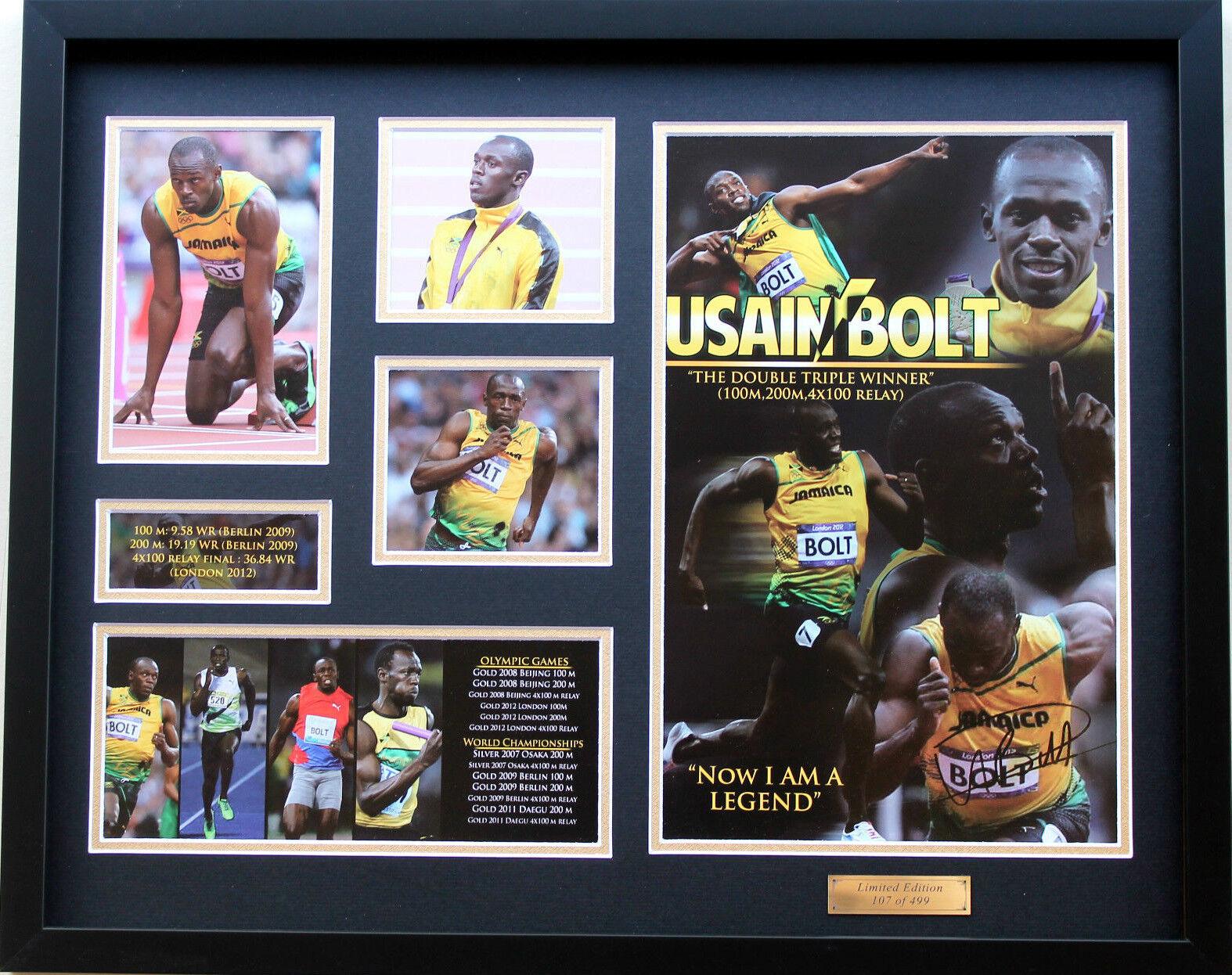Nuevo De Usain Bolt Edición limitada firmada Memorabilia Enmarcado