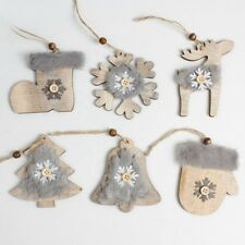 Rustic Merry Christmas Tree Decor Felt Wooden Pendant Xmas Hanging Ornaments NR