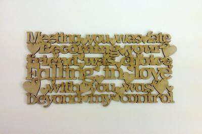 """Laser Cut """"Meeting you was fate..."""" Quote Sign (A142)"""