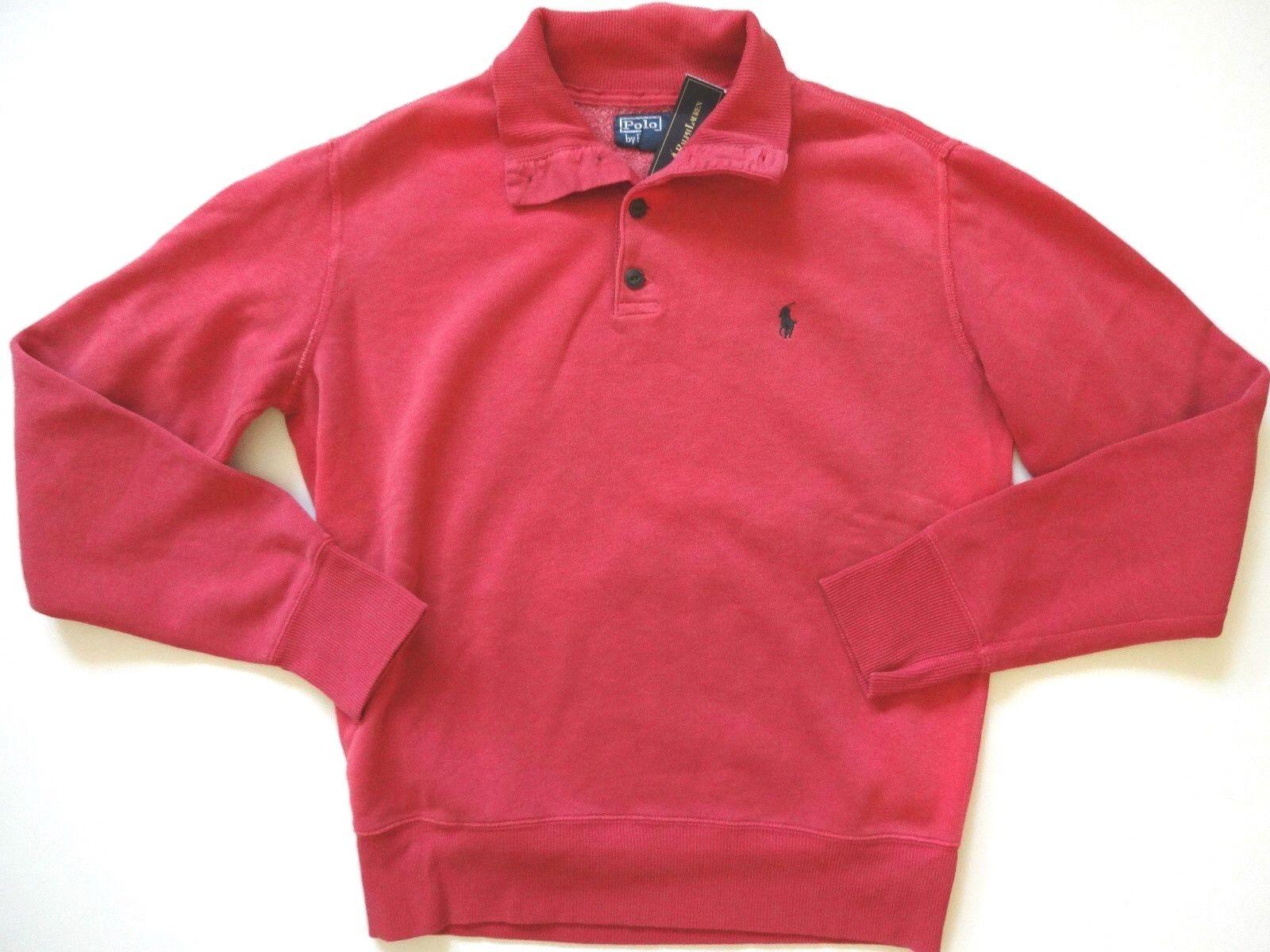 New Ralph Lauren Polo Fleece Faded Red Cotton Blend Button Collar Sweater M