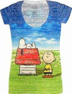 Juniros Peanuts Snoopy & Charlie Brown Blue/Green Sublimation Fade T-shirt Tee