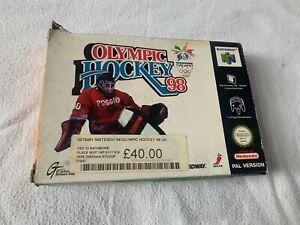 Olímpico de hockey 98-N64-Nintendo-Pal UK-Juego, Caja, Manual-Libre P&p - * RARO