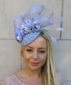 8667241016203 Image is loading Cornflower-Lilac-Light-Blue-Flower-Feather-Hat-Fascinator-