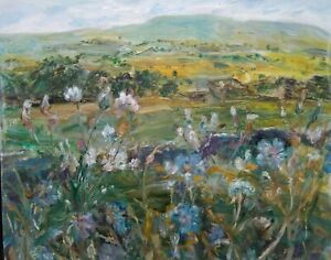 Meadow-Cranesbill-Wensleydale-OIL-PAINT-signed-Impressionism-Canvas-Yks-Dales