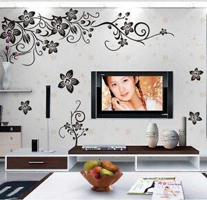 Wandtattoo wandaufkleber schwarze blumenranke blumen wandsticker wohnzimmer deko ebay - Wandsticker wohnzimmer ...