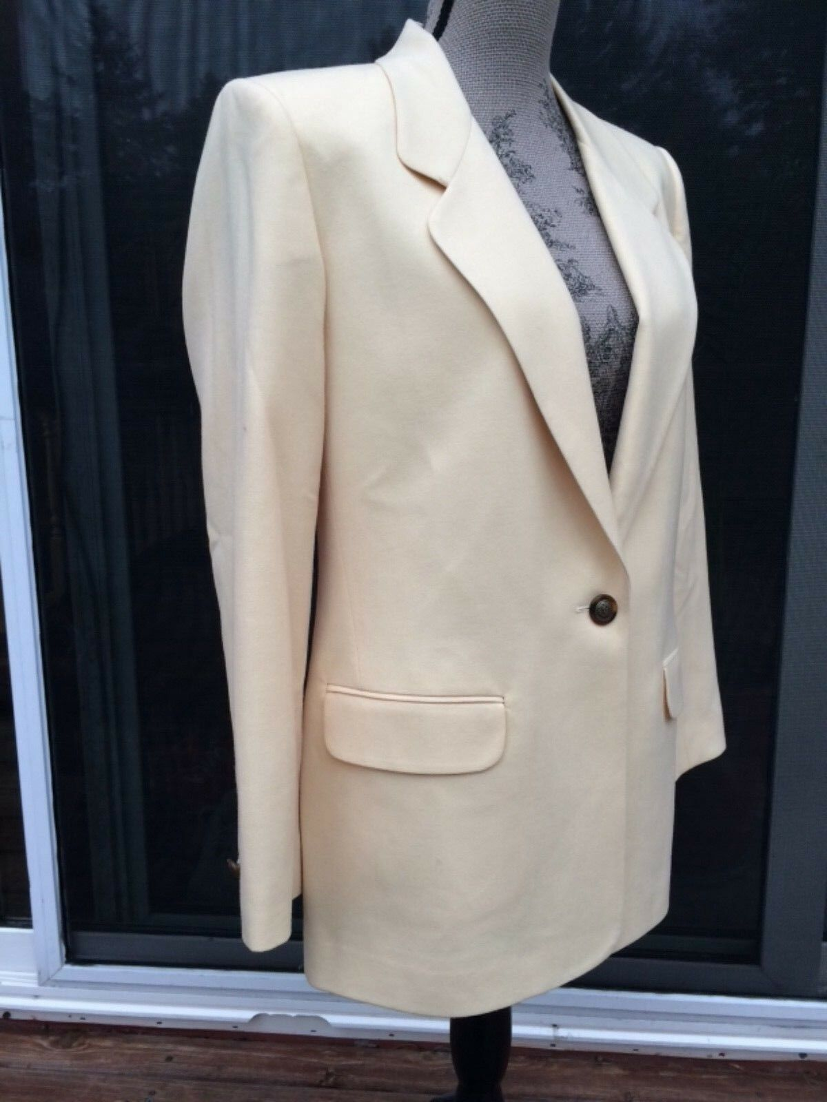 TALBOTS Women's Retro Sz 6 One Button Blazer Yellow 100% Wool USA Gorgeous