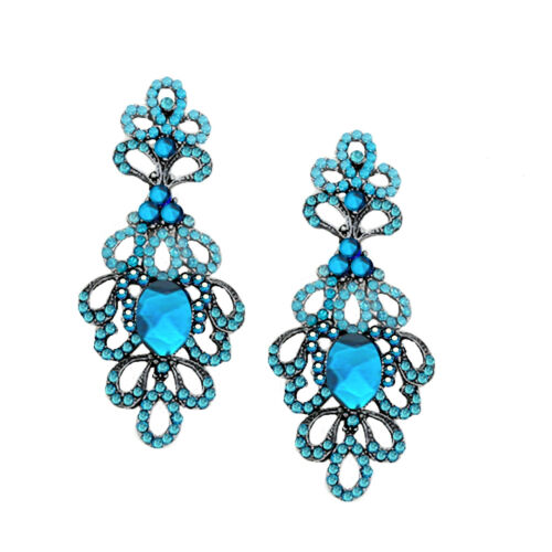 Lujo nuevo raramente largos aretes cristal lechoso azul teal verde azul 7.5 cm la