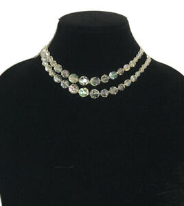 True Vintage Necklace Aurora Borealis Crystal Faceted Graduated 2 String Sparkly