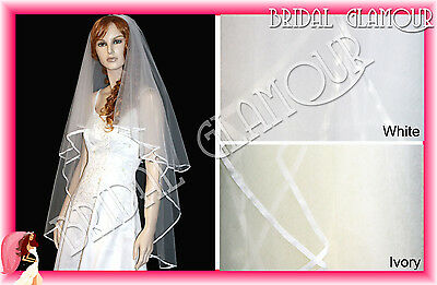 2T White or Ivory - Fingertip / Cathedral Wedding Veil Satin Ribbon Edge Blusher