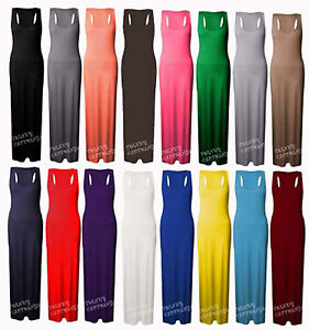 Womens-Long-Maxi-Dress-Ladies-Jersey-Racer-Back-Sleeveless-Long-Vest-Maxi-Dress