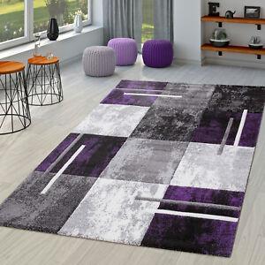 Moderner Teppich Wohnzimmer Milano Mit Konturenschnitt In Lila Grau