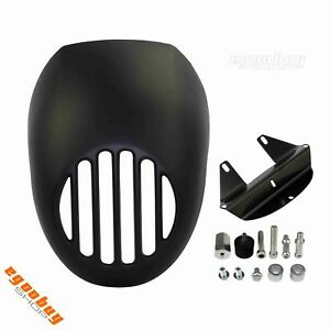 "5.75"" Matte Black Prison Grill Headlight Fairing For Harley Sportster Cafe Racer"