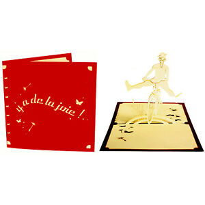 CARTE Y A DE LA JOIE POP-UP KIRIGAMI 3D 180° 145x145mm ROUGE/ECRU+ ENVELOPPE