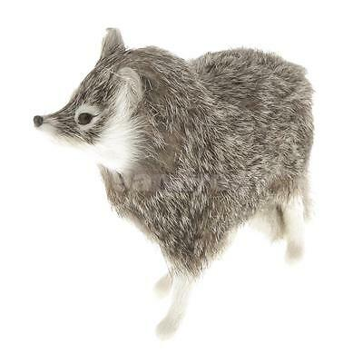 Fairy Fox Figurine Collection Miniature Furry Animals Plush Kids Toy Grey