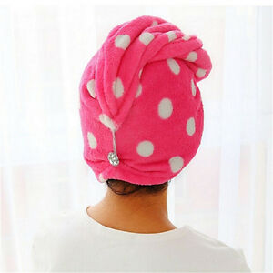 Lady-cheveux-Wrap-tete-serviette-Turbie-turban-Twist-bouton-boucle-de-sechage