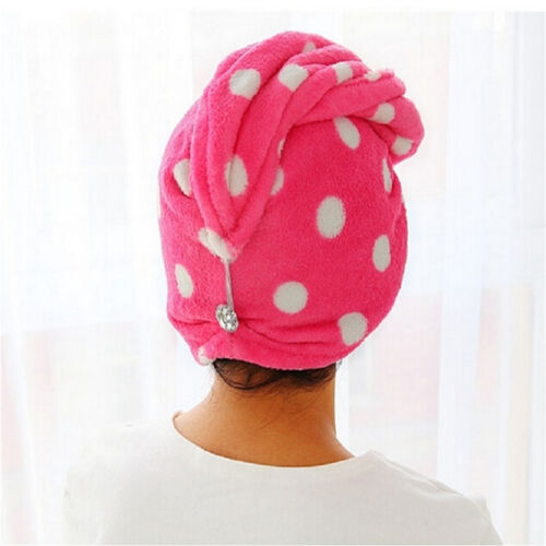 Pop Lady Hair Wrap Head Towel Turbie Turban Twist Drying Cap Loop Button Hat