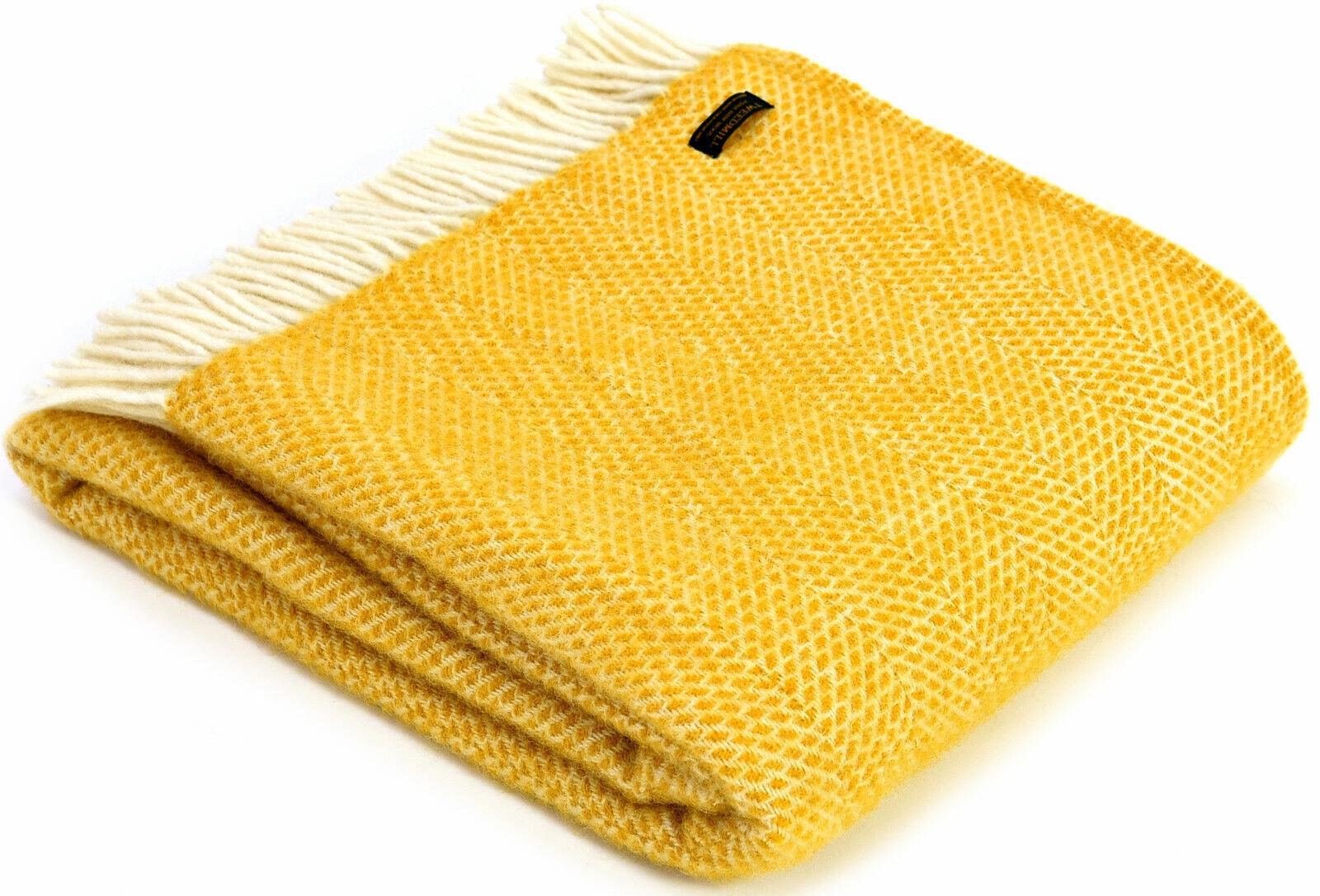 Tweedmill Textiles 100% Lana Nuevo Sofá Cama Manta-Colmena Amarillo