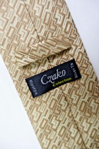 Geschenk Czako Herren Business Krawatte Anlass NEU beige-braun gemustert