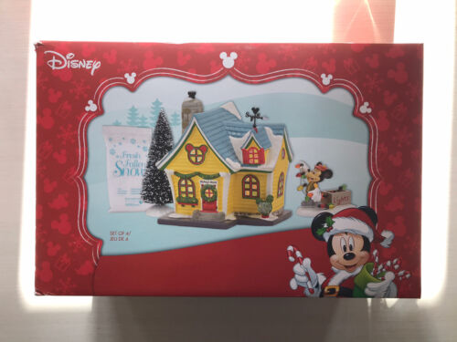 Disney Dept 56 Christmas Mickey House Holiday Gift Set 4 Pieces NEW Retired 2016