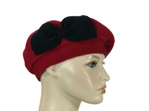 1cbe82036b1 Laulhere 100% Wool French Beret Hat Coco Red with Bow Made In France ...