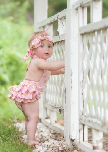 Baby Romper With Headband Outfit 6 Gold Polka Dot or Sequin Photography Prop