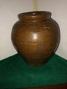 Vtg-Primitive-8-Dk-Brown-Stoneware-Pottery-Crock-Collectible-Rustic-Decor