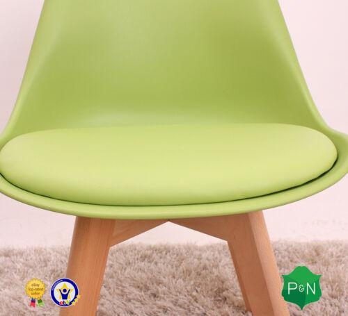 Jamie Lorenzo Tulip Dining Chair Padded Seat Eiffel Wood Legs Retro Modern Home
