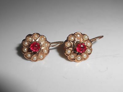Antique 14K Garnet Seed Pearl Pierced Dangle Earrings Victorian Rose Gold