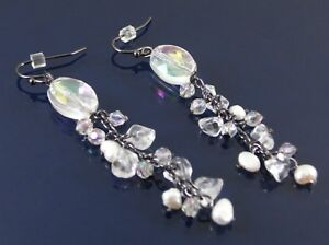 COLLETTE-BY-OASIS-DROP-EARRINGS-GRAPHITE-GREY-PEARL-FACET-BEAD-amp-GLASS-WAS-8