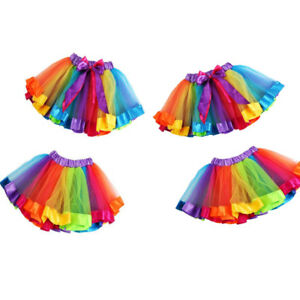 791dbea99bee Kids Girls Petticoat Rainbow Pettiskirt Bowknot Skirt Dress Holiday ...