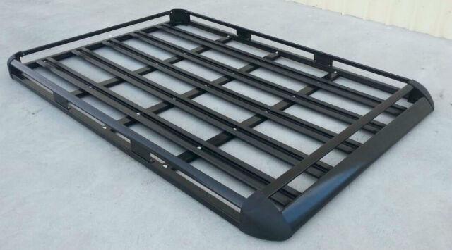 160x110cm  Black Coated Aluminium Car/4WD Roof Rack Luggage Basket + 2xCross Bar