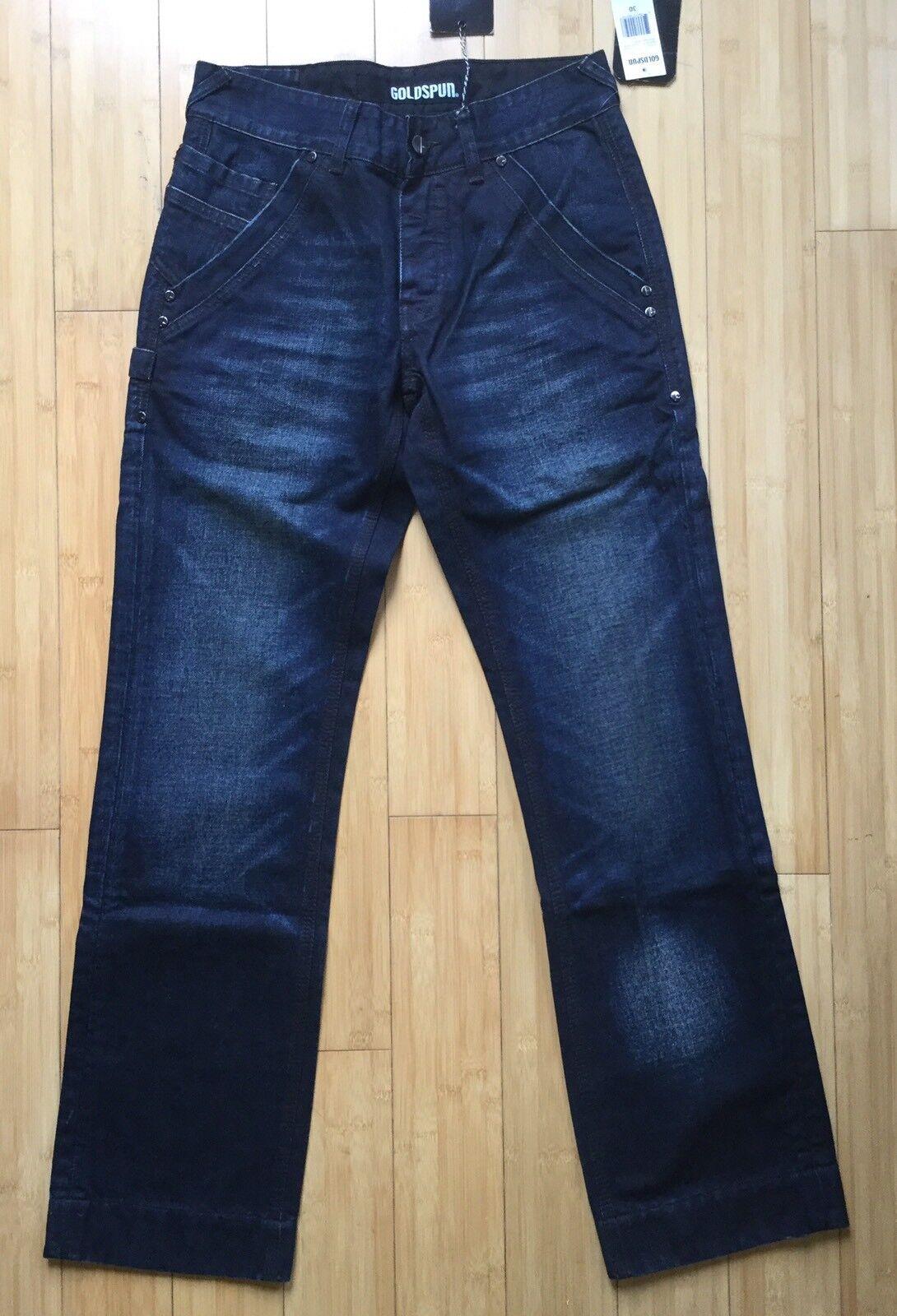 NWT goldspun Coup D'etat Mechanic Denim Jeans utility raw unwashed 29 x 32