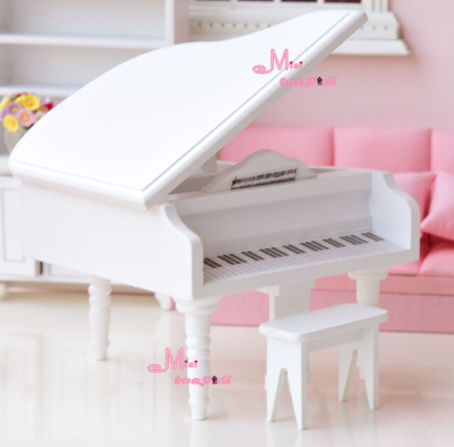 1/12 Dollhouse Miniature Classical Grand White Piano with Stool