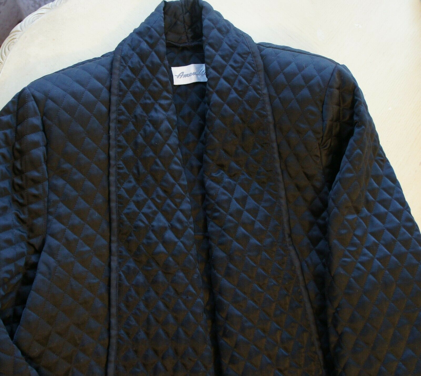 Auth Amen Wardy Black Quilted Open Jacket Sz M - image 6