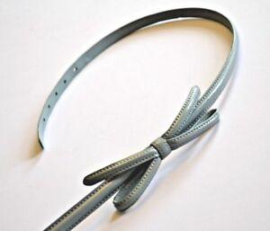 PRADA-Skinny-Belt-Womens-Baby-blue-green-Bow-Detail-Calf-Leather-W28-32-Inch
