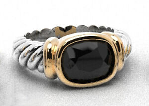 925-Sterling-Silver-Two-Tone-Petite-Noblesse-Natural-Black-Onyx-Ring-Size-8