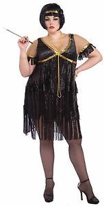 Womens Plus Size Black Flapper Dress Roaring 20s The Great Gatsby ...
