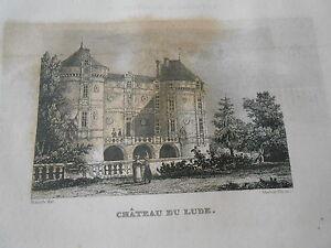 Gravure-sur-acier-1838-La-Sarthe-Chateau-du-Lude