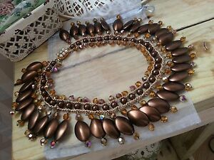 Circa-1950-039-s-Citrine-AB-amp-Coffee-Bean-Almond-Drop-Bead-Cleopatra-Style-Necklace