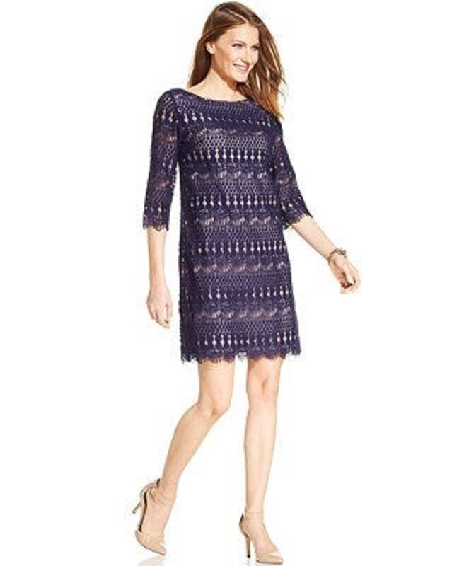 Jessica Howard Illusion-Sleeve Crochet Lace Shift navy dress Size 12P