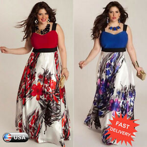 c01eb460375b4f Plus Size Women Floral Printed Long Maxi Evening Party Prom Gown ...