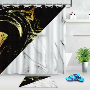 Golden Texture Black and White Marble Shower Curtain Set Waterproof Fabric Hooks